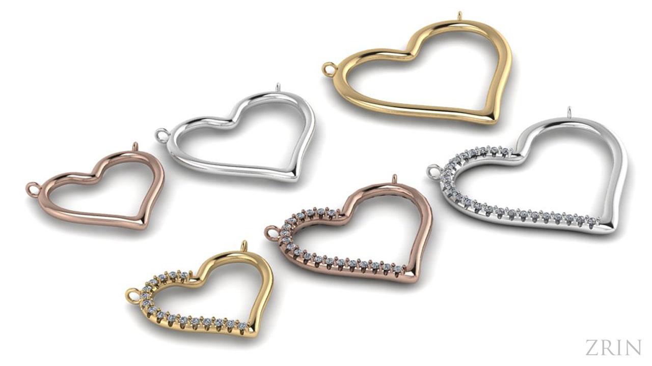 Zrin privjesci u obliku srca, tri boje zlata, platina i srebro